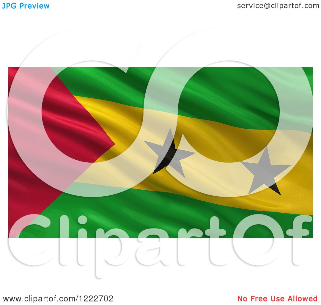 Clipart of a 3d Waving Flag of Sao Tome and Principe with Rippled.
