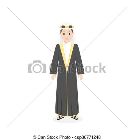 EPS Vector of Saudi Arabia Traditional Clothes People.