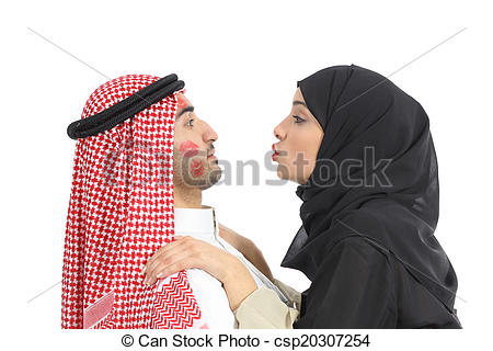 Stock Images of Arab saudi obsessed woman kissing a man.