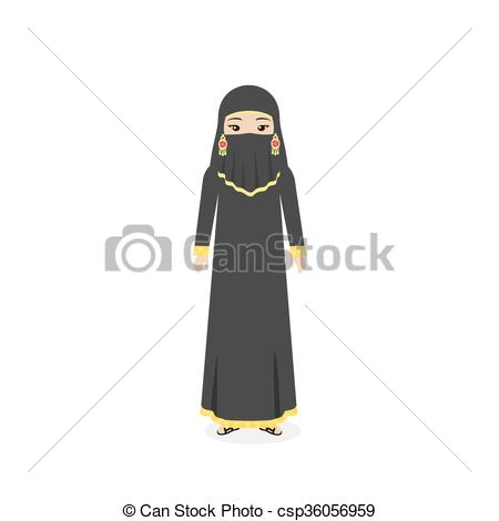 Clipart Vector of Saudi Arabia Traditional Clothes People.