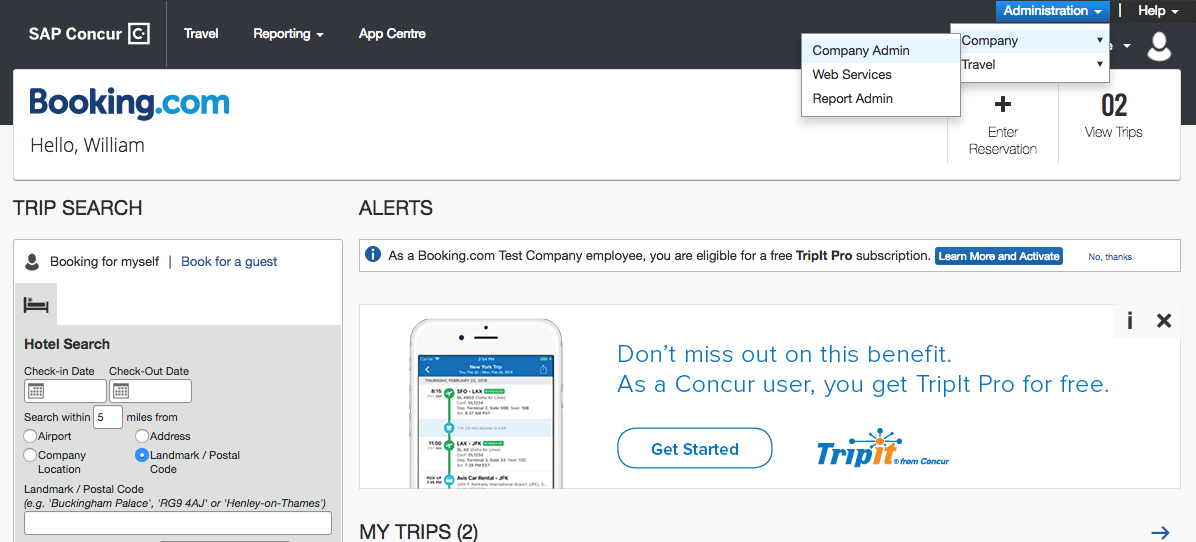 Booking.com + SAP Concur Integration.