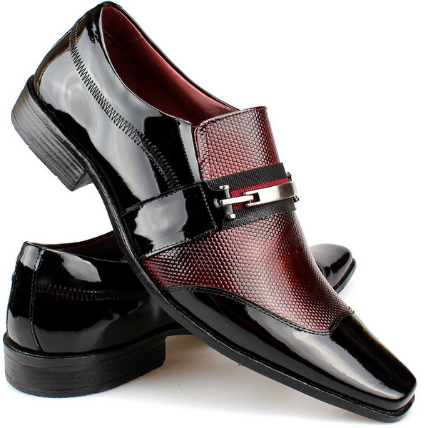 Sapato Social Masculino Vinho Fivela.