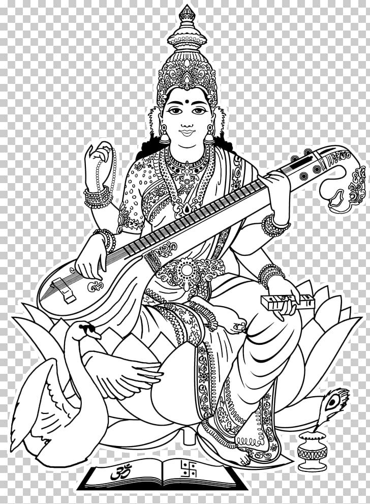 Shiva Ganesha Saraswati Drawing Coloring book, Sarawati.