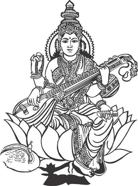 God Saraswati Clipart.