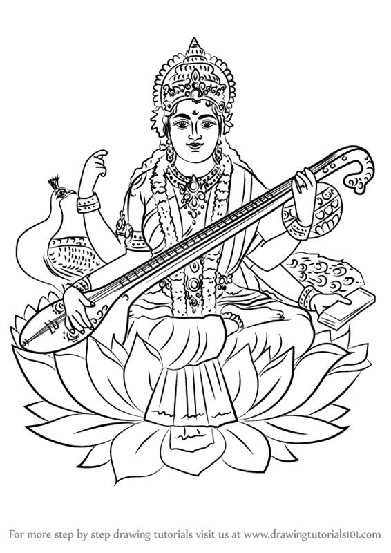 Learn How to Draw Saraswati (Hinduism) Step by Step.