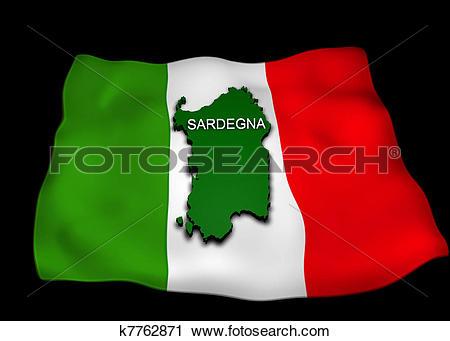 Clipart of flag, the Italian region Sardinia, k7762871.