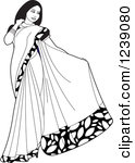 Clipart of a Beautiful Indian Woman Modeling a Blue Saree Dress.