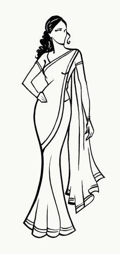 Woman in Saree, Pencil sketch.
