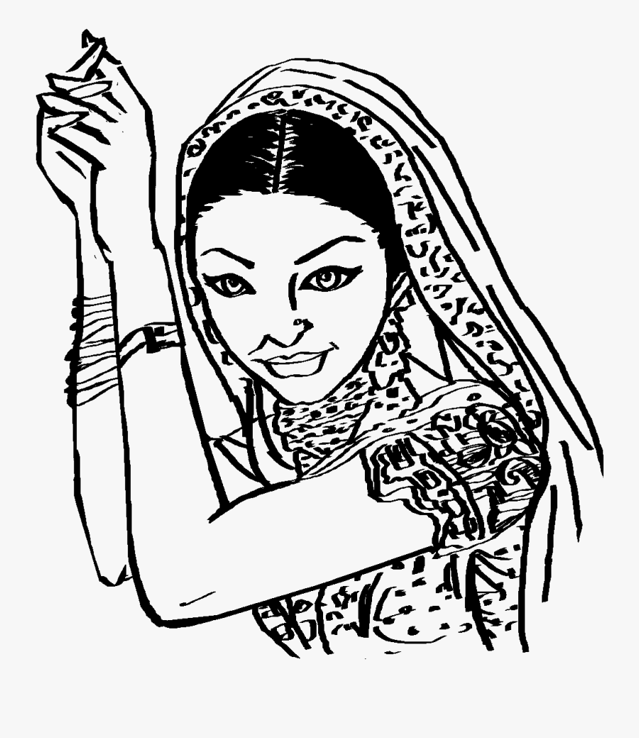 Saree Clipart Black And White , Free Transparent Clipart.