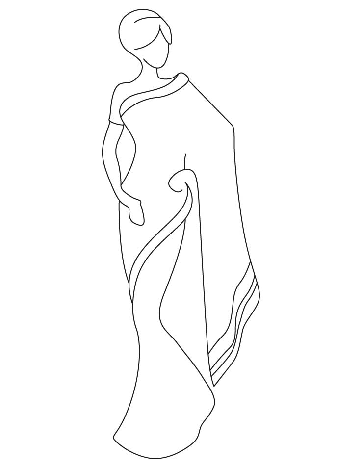 Saree clipart black and white 3 » Clipart Station.