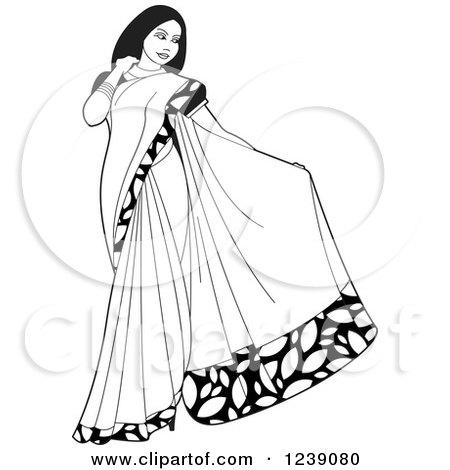 Saree Model Clipart.