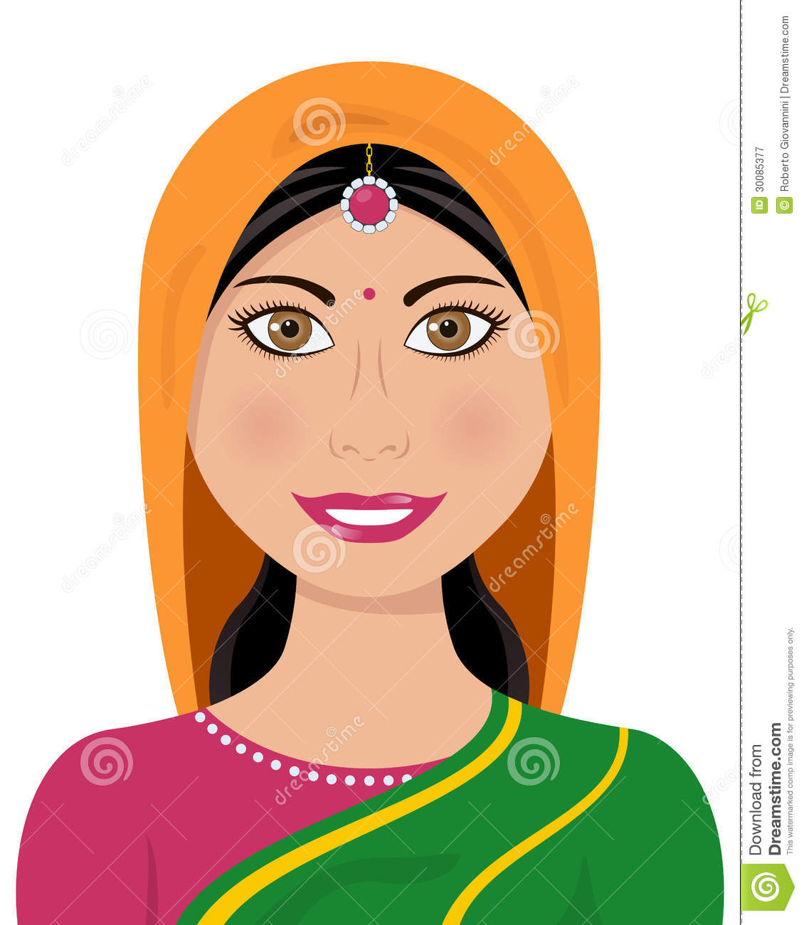 Indian woman in sari clipart.
