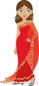 Clip Art Of A Beautiful Hindu Woman Wearing A Sari.