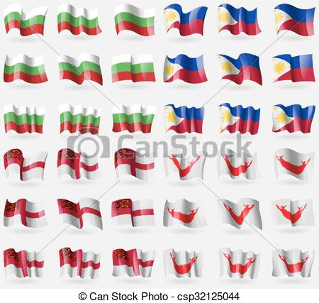 EPS Vector of Bulgaria, Philippines, Sark, Easter Rapa Nui. Set of.
