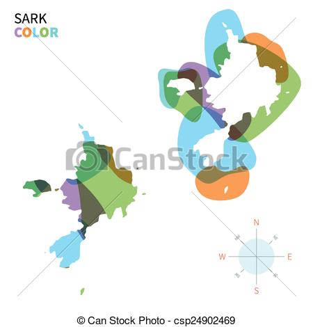 Clip Art Vector of Abstract vector color map of Sark with.