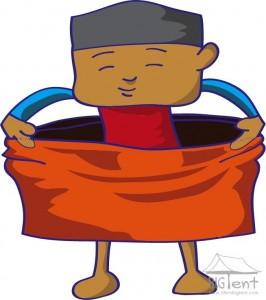 Wearing tube sarong.