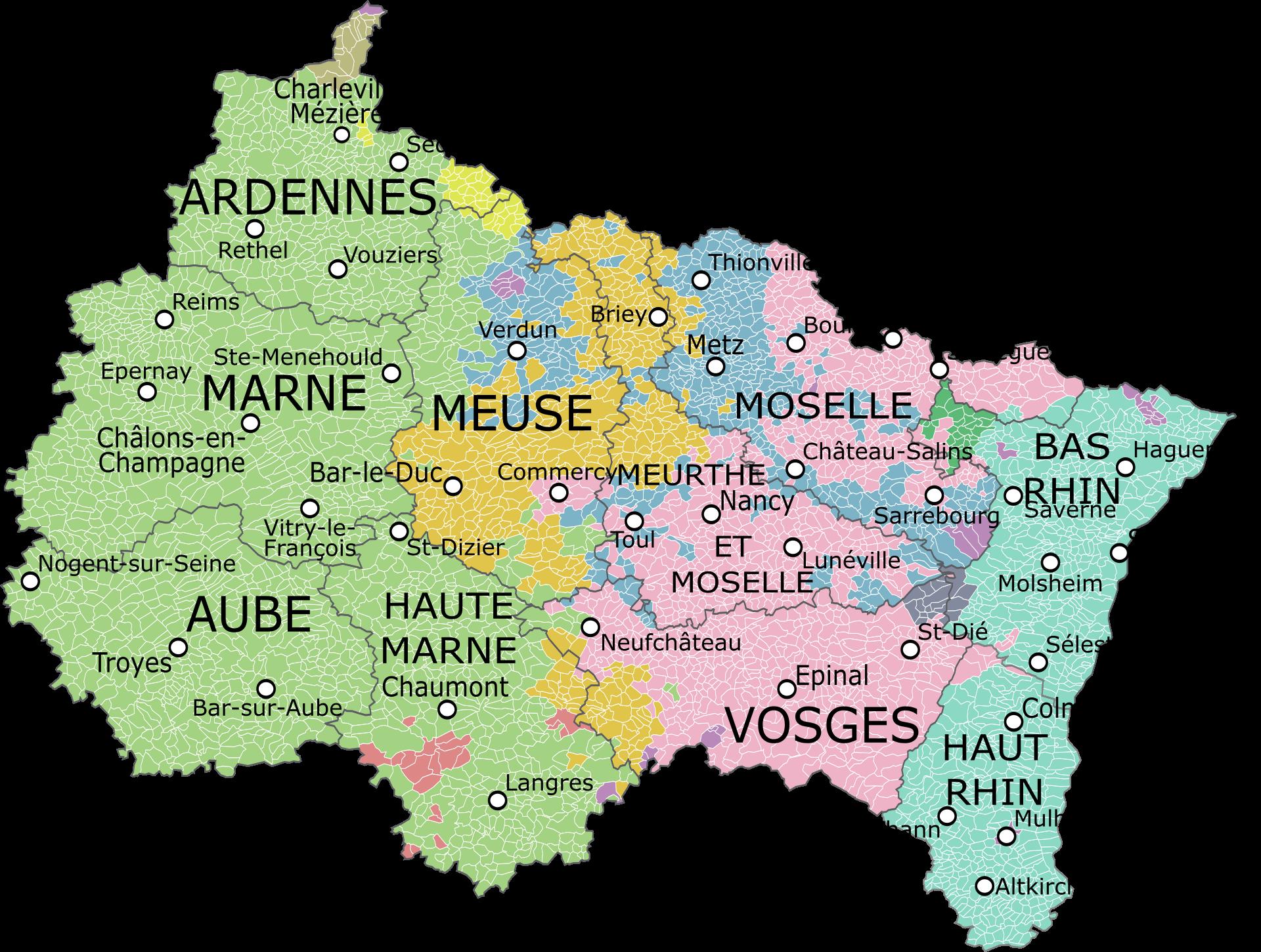 Carte de la région avec ses départements, montrant les provinces.