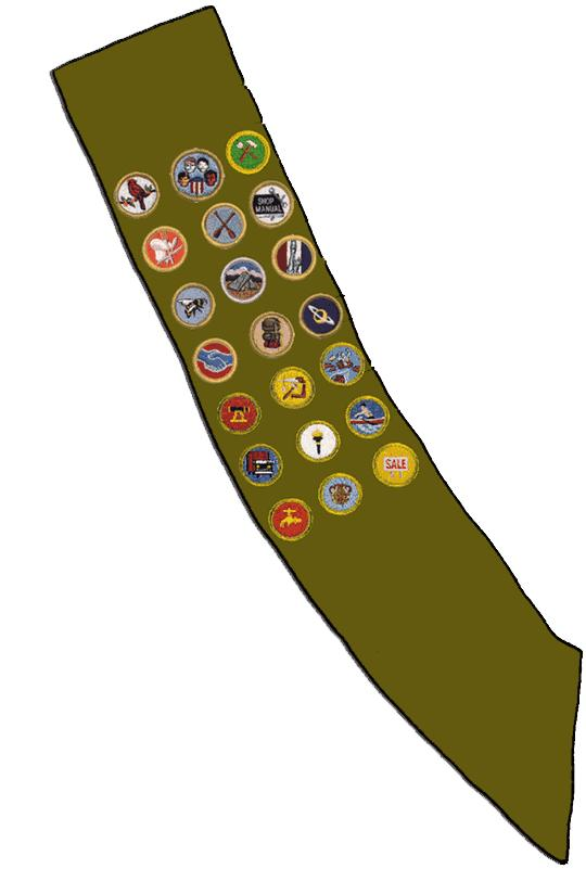 Merit badge sash clip art.