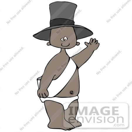 Clip Art Graphif of an African American New Year's Baby Boy in a.