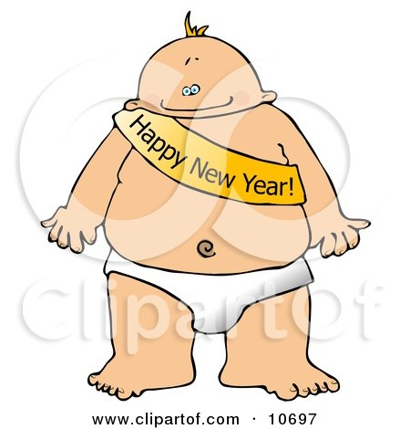 New Year's Baby Wearing a Happy New Year Sash Clipart Illustration.