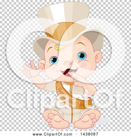Clipart of a New Year Baby Wearing a Sash and Top Hat.
