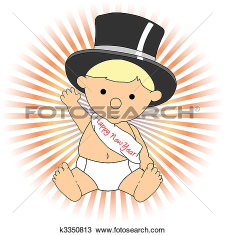 Clipart of Baby New Year wearing hat sash waving adorable k3350813.