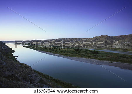 Stock Photo of The South Saskatchewan River valley at dawn, north.