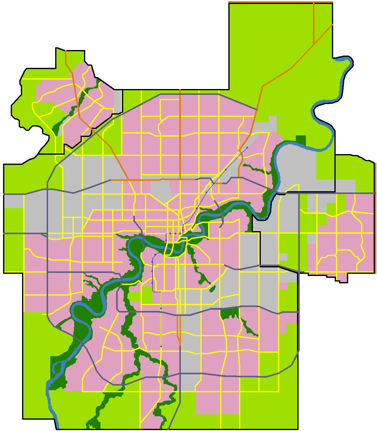 North Saskatchewan River valley parks system.