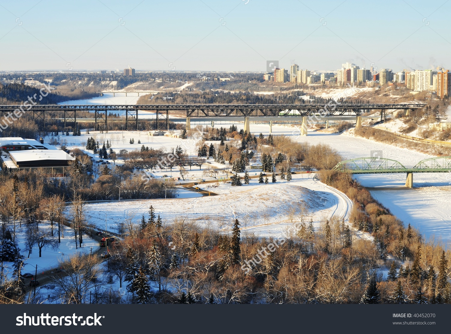 Winter View North Saskatchewan River City Stock Photo 40452070.