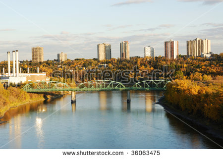 Autumn View Of The North Saskatchewan River Valley In Edmonton.