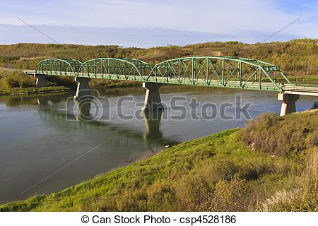 Stock Image of Gabriel Bridge on South Saskatchewan River.