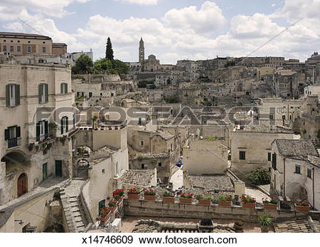 Stock Photograph of View of the Sassi the old town of Matera.