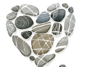 Items similar to Watercolor Pebbles Ink Watercolor Stones Nature.