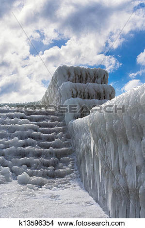 Stock Photo of Winter on the mole in Sassnitz (Germany). k13596354.