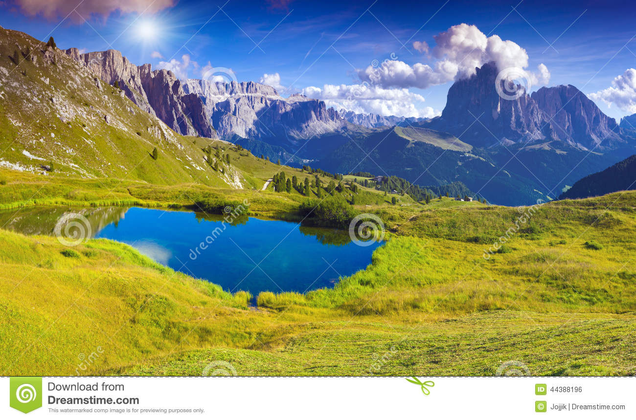 Sassolungo, Dolomites, Italy Stock Photo.