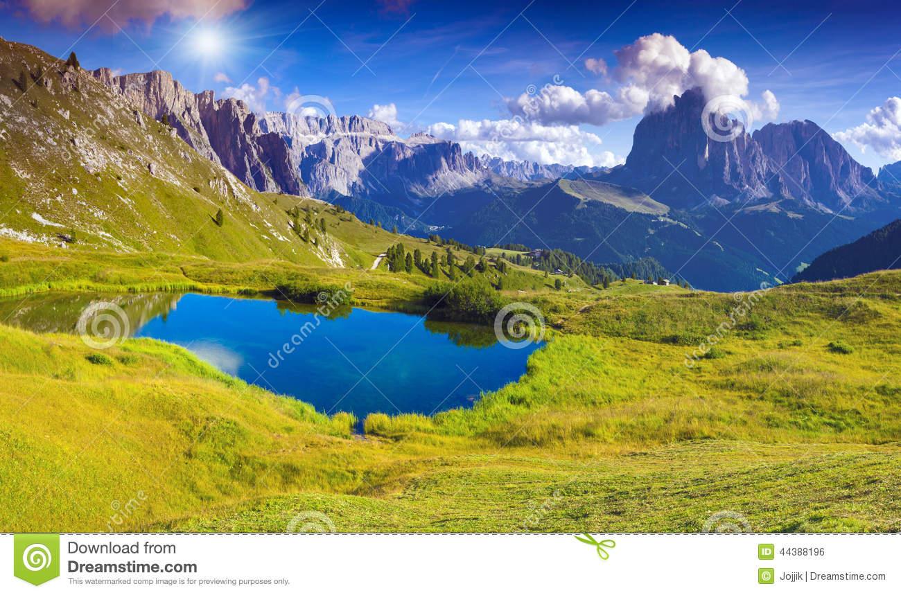 Sassolungo, Dolomites, Italy Stock Photo.