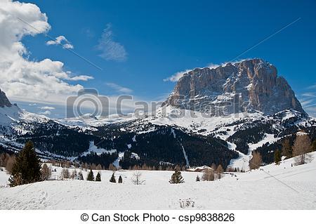 Stock Image of View of Mount Sassolungo.