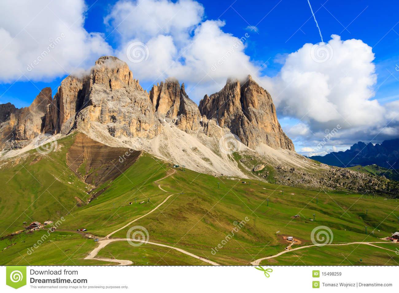 Sassolungo Group In Dolomites Royalty Free Stock Images.