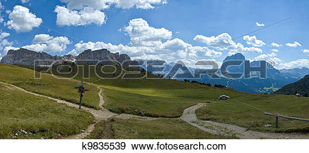 Stock Photograph of Dolomites, the mount Stevia and group of.