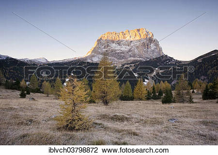 """Stock Photo of """"Mt Langkofel or Sasso Lungo from the Gardena Pass."""