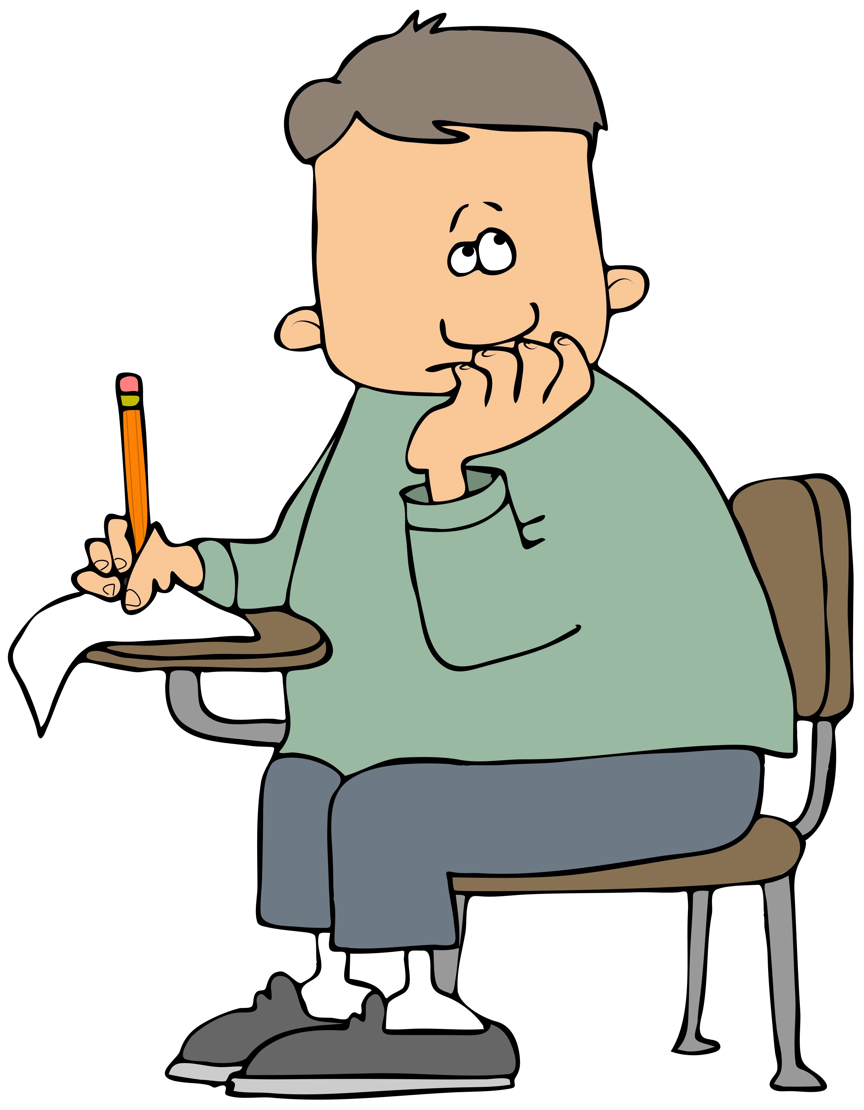 Student taking the sat test clipart.