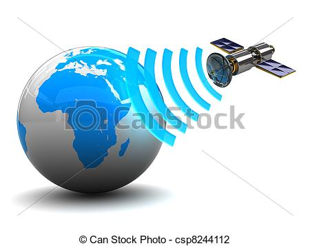 Clip Art of satellite broadcasting.