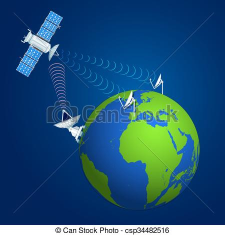 Vector Clip Art of colorful satellite broadcasting concept.