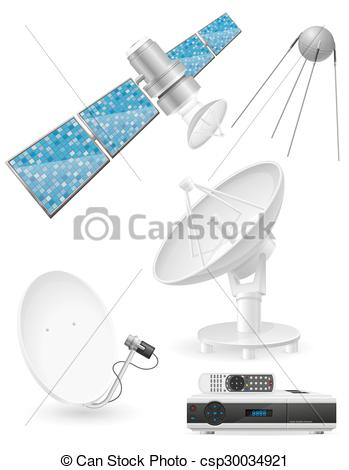 Vector Illustration of set icons satellite broadcasting vector.