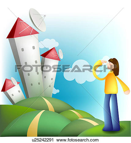 Clipart of satellite relay, internet, broadcasting.
