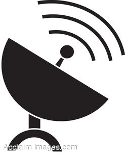 Clip Art of a Satellite Dish Icon.