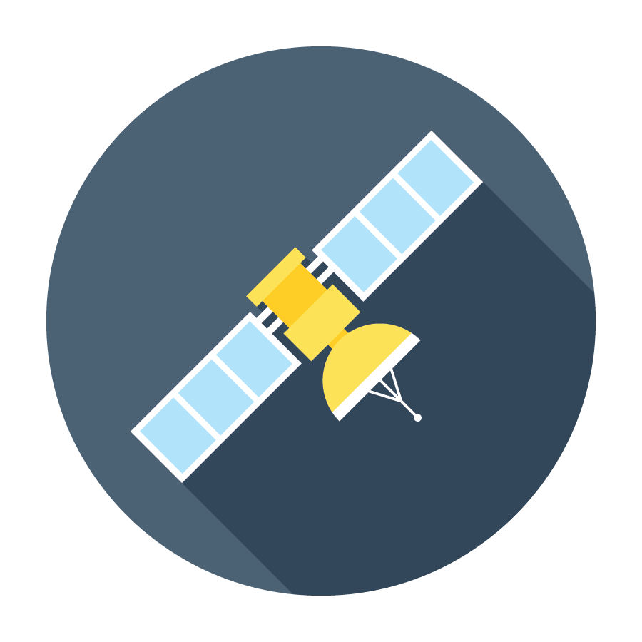 Flat Satellite Icon.