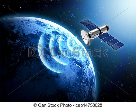 Clip Art of blue planet earth and satellite in space csp14758028.