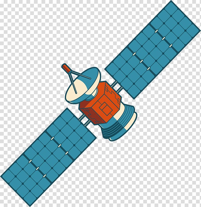 Blue plastic toy illustration, Satellite Nilesat.