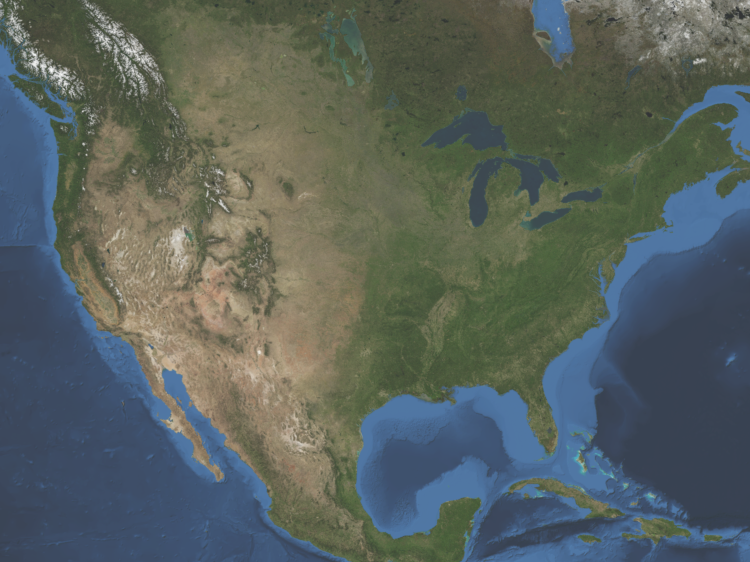 Satellite Map for United States.